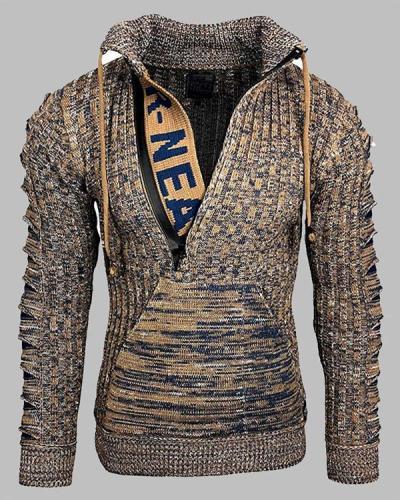 Men Stand Collar Zipper Standard Slim Casual Sweater