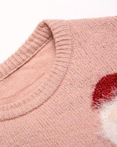 Women Santa Claus Pink Sweater