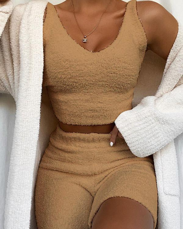 Super Soft Knit Pajamas Homewear Vest+Shorts