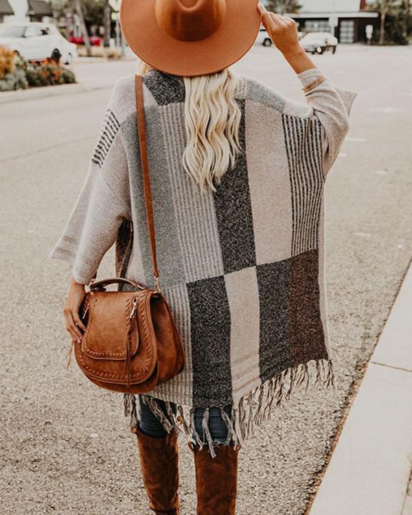Women Tassel Design Shawl Cardigan