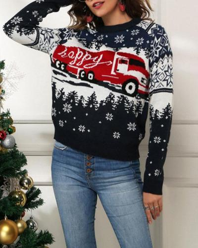 Women's Christmas Snowflake Navy Sweater