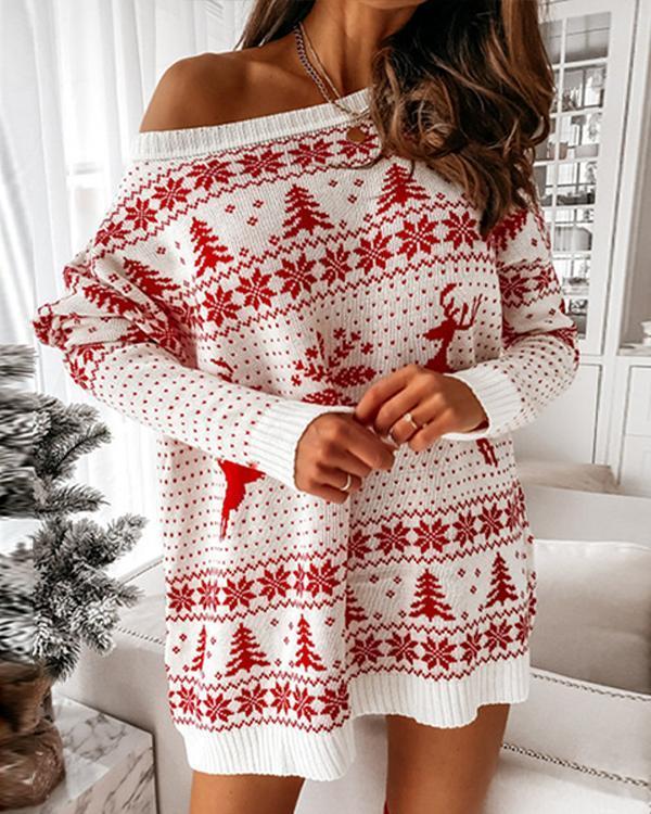 Women Christmas Loose Long Sleeve Dresses
