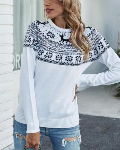 Women Christmas Snowflake Print Sweater