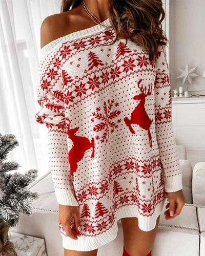 Women Christmas Loose Long Sleeve Dresses