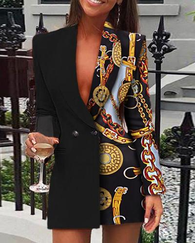 Multicolor Chain Print Long Sleeve Blazer Dress