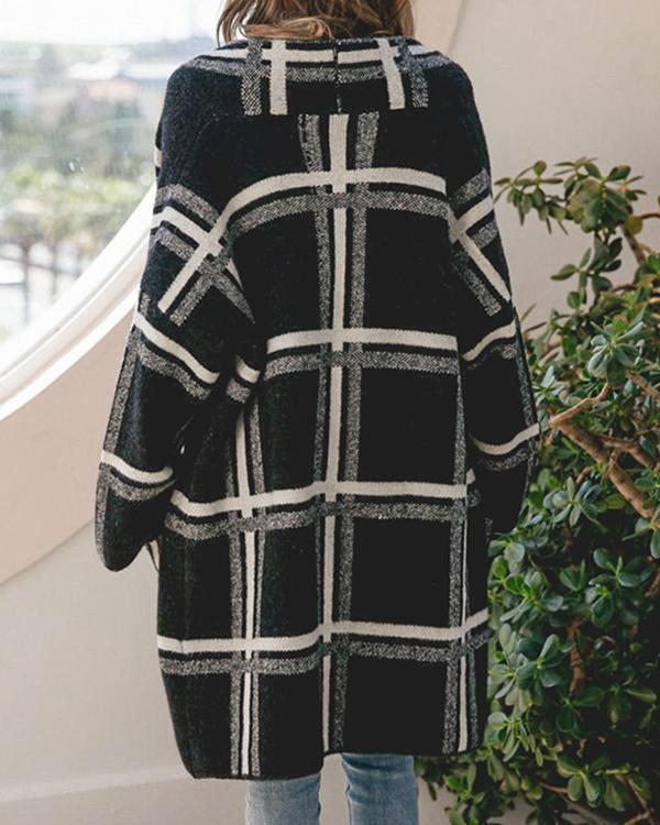 Women Grid Long Knitted Cardigan