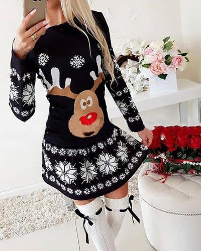 Women's Dress Christmas Moose Snowflake Print Long Sleeve Mini Dress