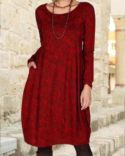 Casual Vintage Cotton Round Neckline Shift Dress