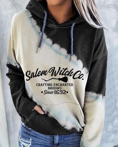 Women's Cozy Print Round Neck Hooded Sweatshirt