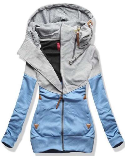 Casual Color Block Zip Hooded Jacket