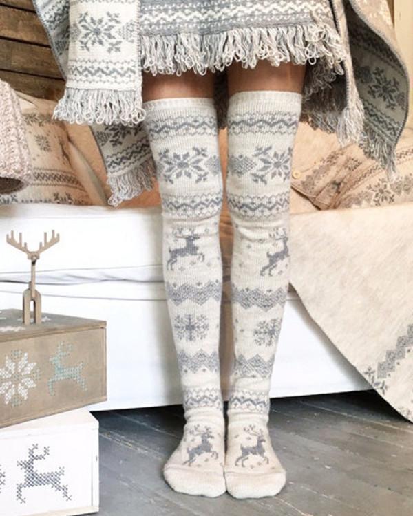 Over Knee Christmas snowflakes Warm Socks
