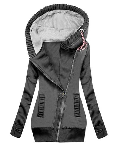 Women's Long Sleeve Cotton Slim Fit Midi Hoodie Coat