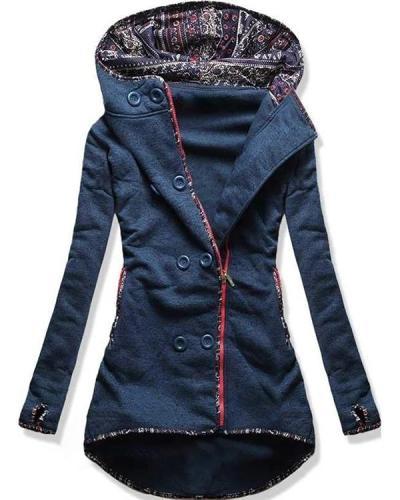 Women Retro Cotton Hooded Coat