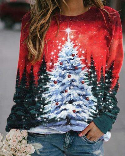 Women Fashion Christmas Tree Casual Sweatshirt Tops