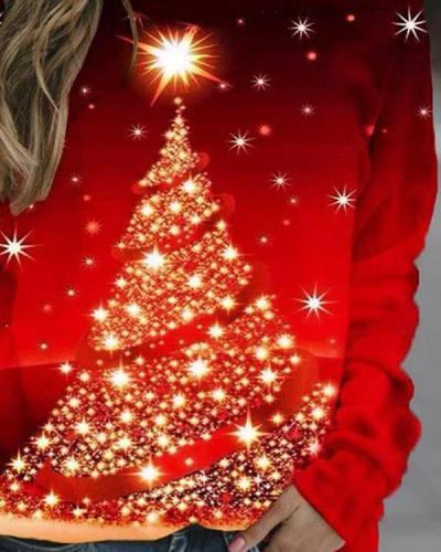 Women Christmas Tree Graphic Sweatshirt Pullovers
