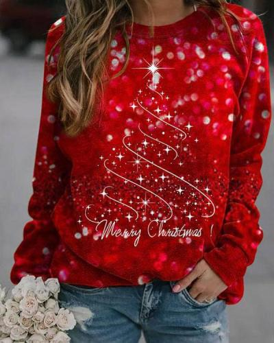 Women's Merry Christmas Red Shining Sweatshirt