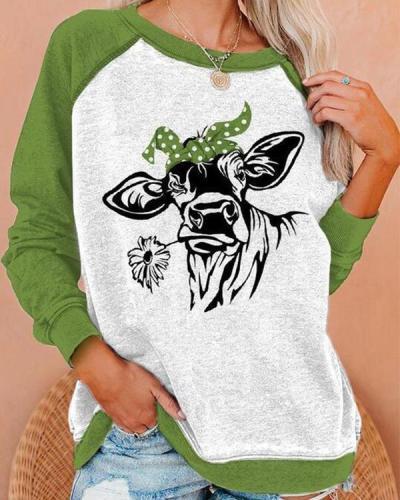 Lifelike Cow Biting A Daisy Print Women Raglan Sleeves Color-block Casual Sweatshirt