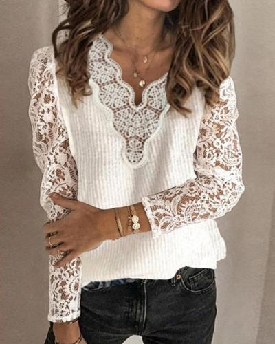 Women Solid Lace V-Neck Sexy Sweaters