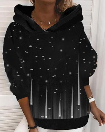 Printed Sequins Long Sleeves Hoodie