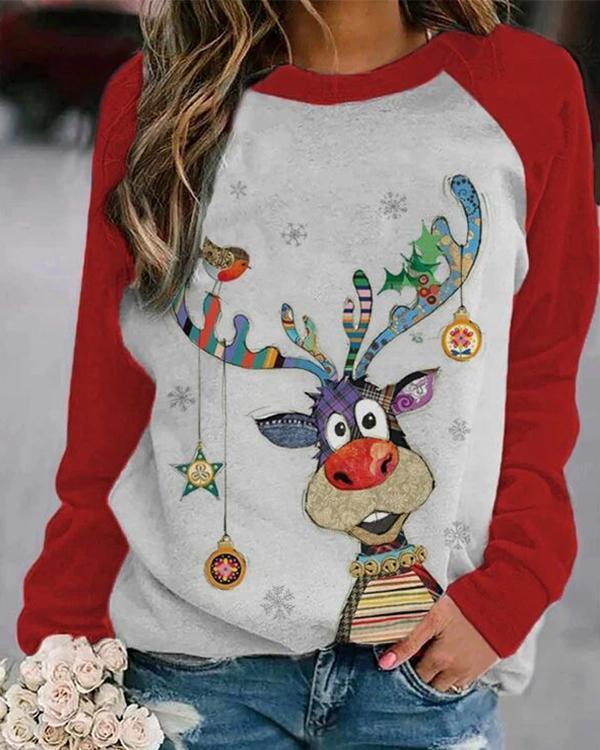 Women's Christmas Red Animal Print Sweatshirt