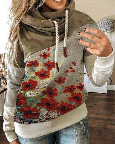 Long Sleeve Floral Floral-Print Casual Sweatshirt