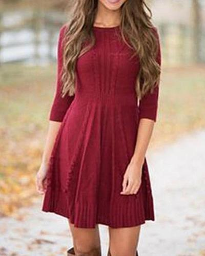 Solid Long Sleeves A-line Above Knee Crew Neck Dress