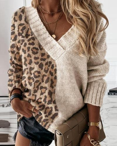 Color Block Leopard V-Neck Casual Sweater