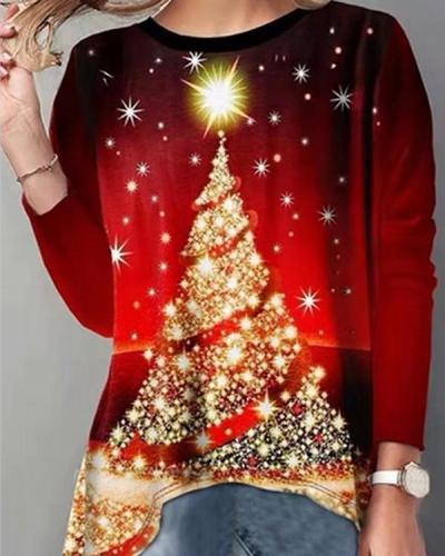 Christmas Tree Graphic Print Long Sleeves T-shirt