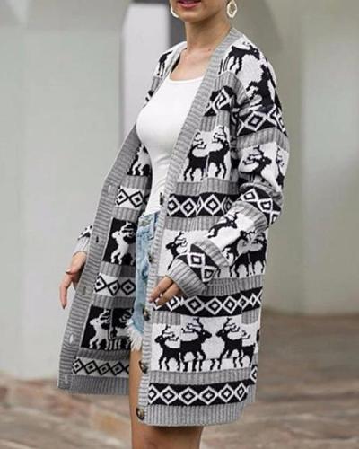 Winter Christmas Deer Sweater Cardigan