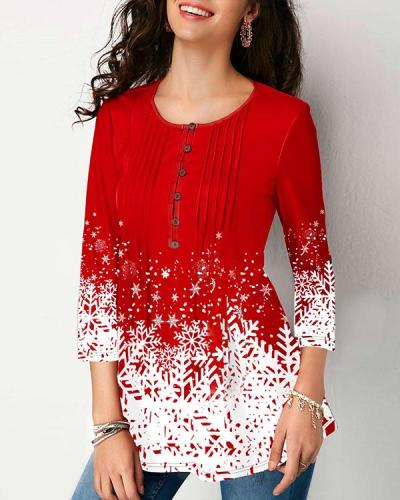 Printed Button Front 3/4 sleeve Blouse