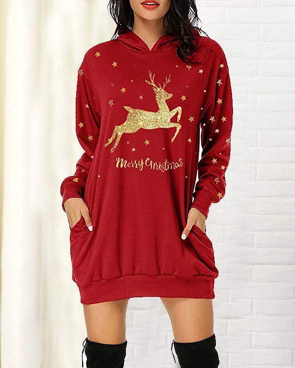 Women's Christmas Long Sleeve Mini Hooded Fleece Dress