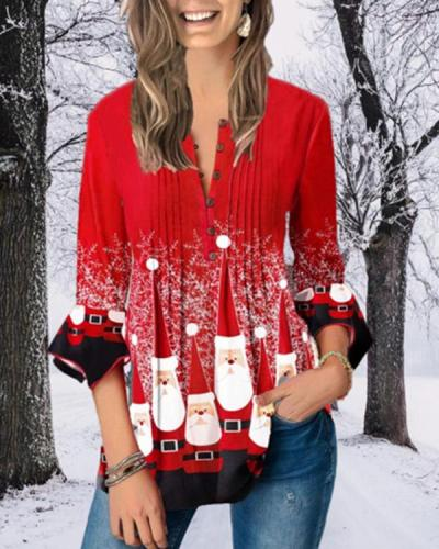 Plus Size Christmas Print Crinkle Chest Blouse