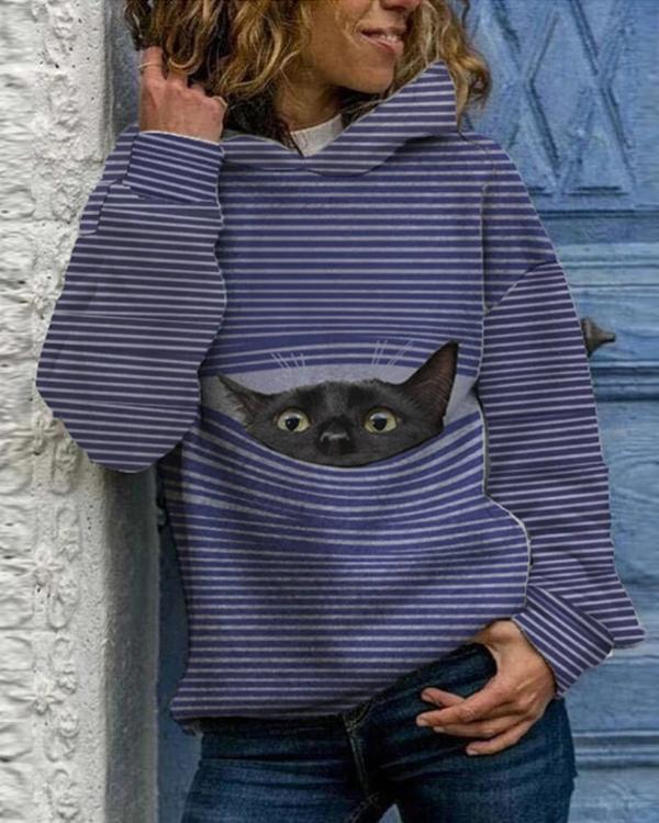 Women Cat Print Holiday Hoodies