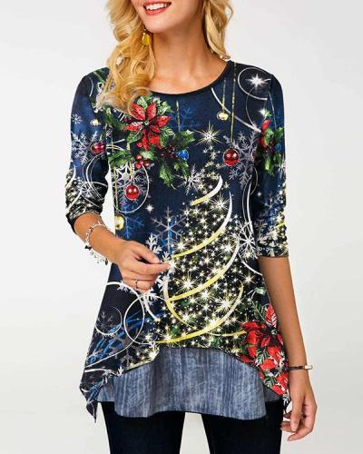 Digital Print Christmas Tree Long Sleeves A-line T-shirt
