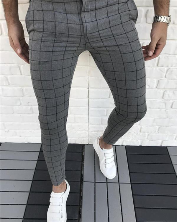 Men's Plaid Mid Waist Casual Pants