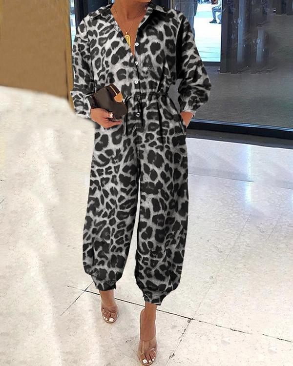 Women's Loose Leopard Long Sleeves Jumpsuits