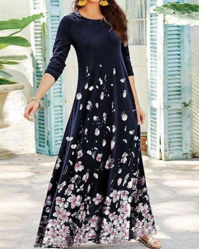 Women Long Sleeve Causal A-Line Floral Maxi Dress