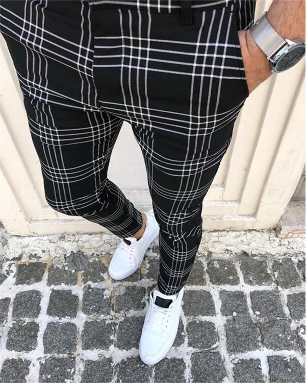 Men's Large Plaid Striped Pants
