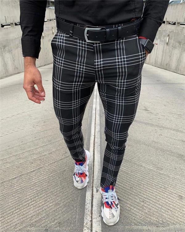Men's Large Plaid Striped Pants