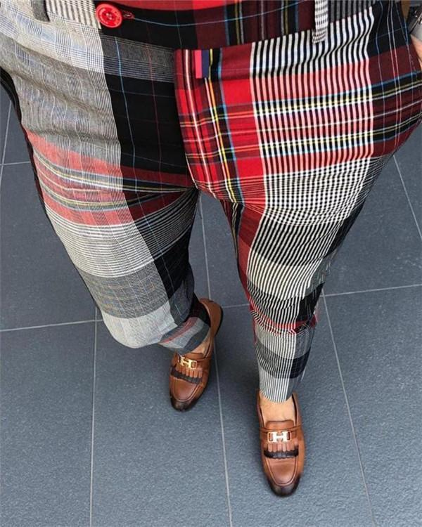 Men's Vintage Plaid Slim Leg Pant