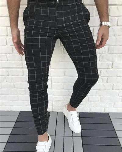 Men's Plaid Mid Waist Casual Pants