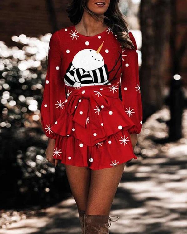 Ladies Christmas Snowman Print Bow-knot Ruffle Dress