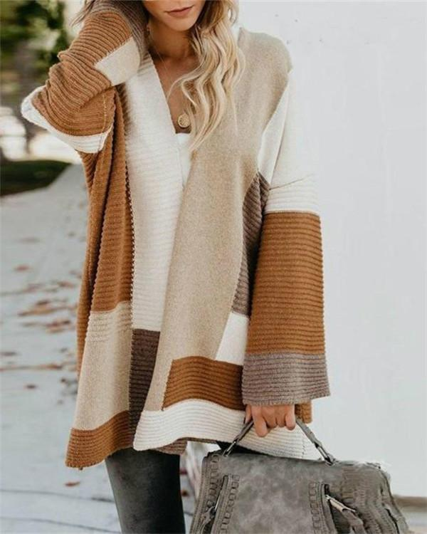 Color Blocks Open Front Cardigan