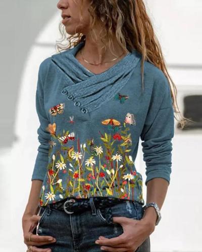 Floral&ButterflyPrint V-Neckline Pleated Long Sleeve Blouses