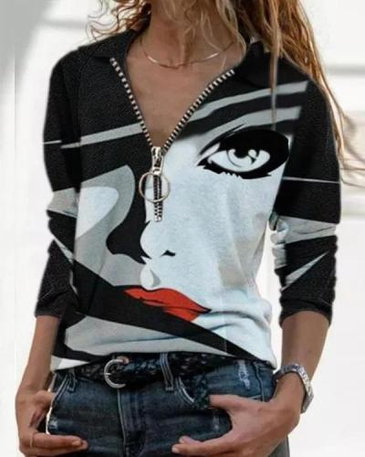 Shirt Collar Streetwear Figure Print Blouses