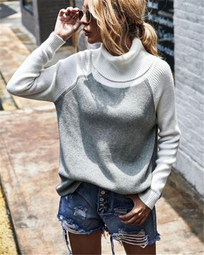 Colour Blocking Turtleneck Chic Women Sweater