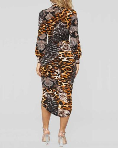 Deep V Leopard Print Long Sleeve Dress