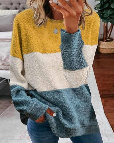 Colorblock Long Sleeve Casual Teddy Sweatshirt