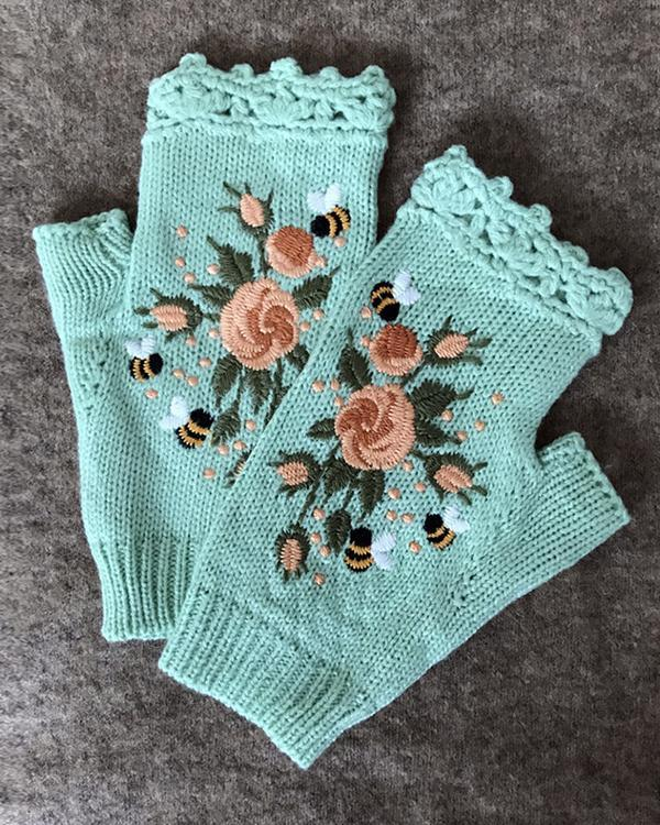 Embroidered Flower Knitted Gloves Handwarmers