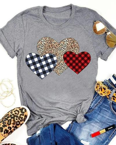 Valentine Plaid Leopard Printed Splicing Heart T-Shirt Tee